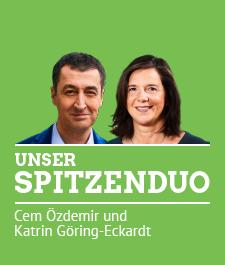 Unser Spitzenduo für die Bundestagswahl 2017 Die Gesichter von Cem Özdemir und Katrin Göring-Eckardt. Dazu der Text: Unser Spitzenduo. Cem Özdemir und Katrin Göring-Eckardt.